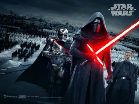R to L: Captain Phasma, Kylo Ren, and General Hux